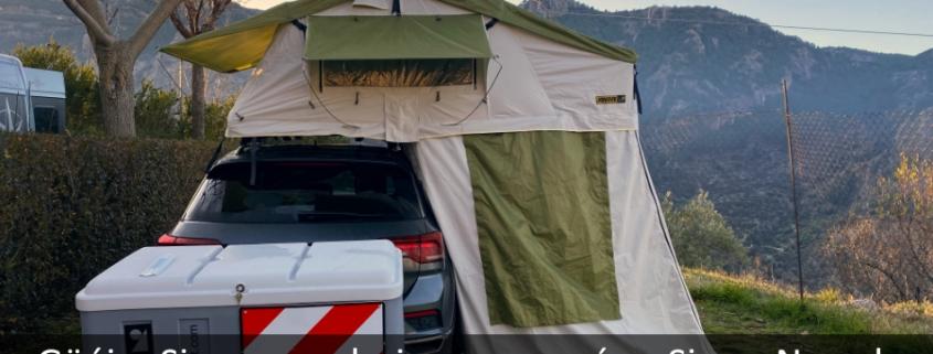 Vehiculo con Jovive Tent desplegada de fondo esta Sierra Nevada