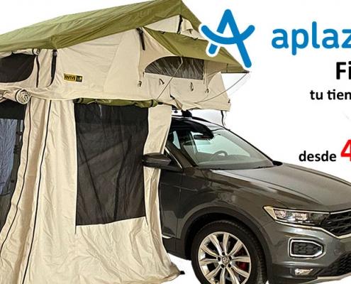 Banner para financiación de tienda para techo Jovive Tent con Aplazame